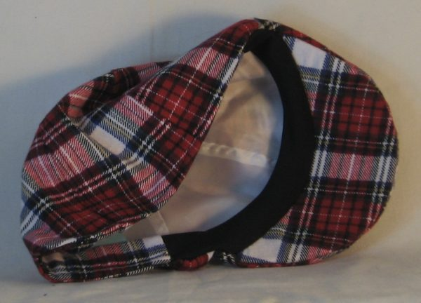 Duckbill Flat Cap in Red White Black Plaid with White Rectangle Flannel - inside