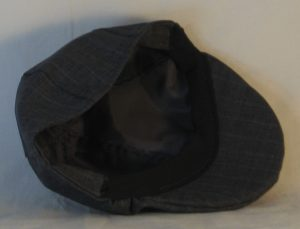 Duckbill Flat Cap in Dark Blue Stripe Suiting - inside