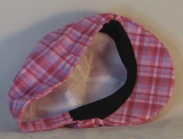 Duckbill Flat Cap in Pink Rose Lavender Plaid Flannel - inside