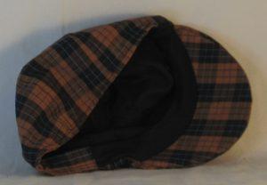 Duckbill Flat Cap in Orange Black Check with Blue Grid Plaid Shirting - inside