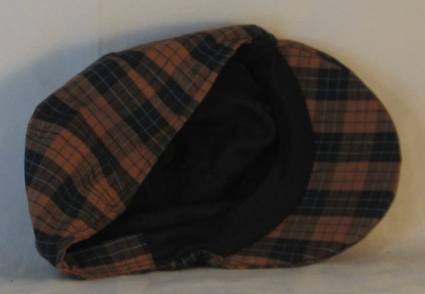 Duckbill Flat Cap in Orange Black Check with Blue Grid Plaid Shirting - inside
