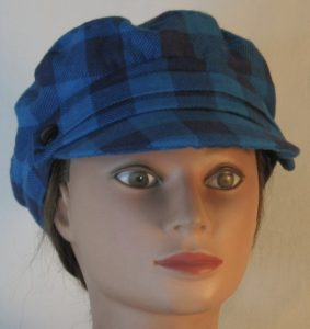 Fisherman Cap in Turquoise Navy Big Check Flannel - front
