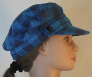 Fisherman Cap in Turquoise Navy Big Check Flannel - right