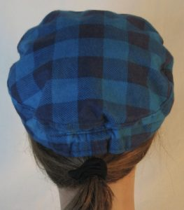 Fisherman Cap in Turquoise Navy Big Check Flannel - back