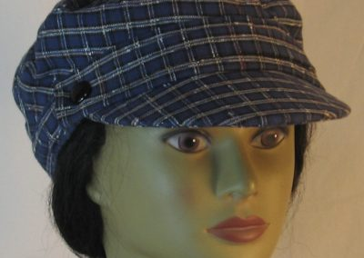 Fisherman Cap in Navy with White Check Grid Textured Suiting - front