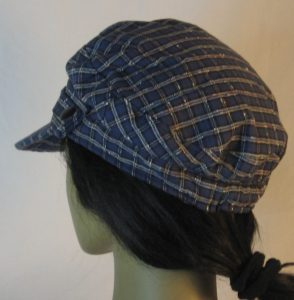 Fisherman Cap in Navy with White Check Grid Textured Suiting - back