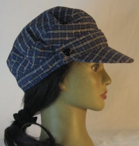 Fisherman Cap in Navy with White Check Grid Textured Suiting - right