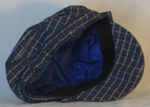 Fisherman Cap in Navy with White Check Grid Textured Suiting - inside