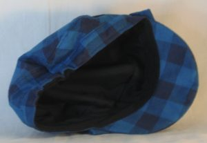 Fisherman Cap in Turquoise Navy Big Check Flannel - inside