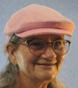 Flat Cap in Pink Corduroy-model