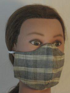 Face Mask in Tan Gray Mustard Brown Banded Plaid Shirting - front