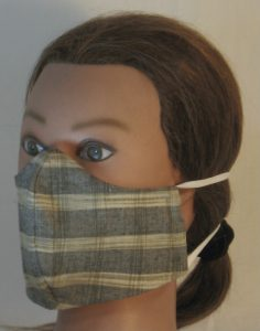 Face Mask in Tan Gray Mustard Brown Banded Plaid Shirting - left