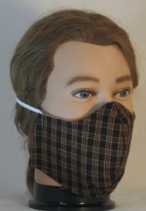 Face Mask in Orange Black Plaid with Check Look Shirting - front right
