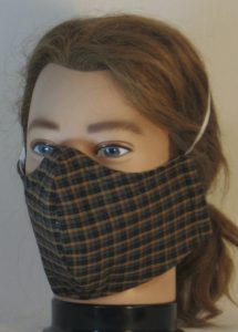 Face Mask in Yellow Green Black Red Plaid Shirting - front