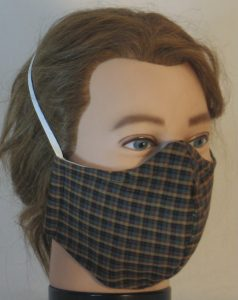 Face Mask in Yellow Green Black Red Plaid Shirting - right front