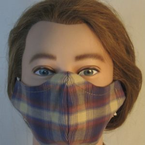 Face Mask in Blue Red Tan Banded Plaid with Tan Square Shirting - front