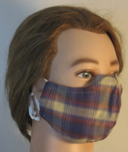 Face Mask in Blue Red Tan Banded Plaid with Tan Square Shirting - right