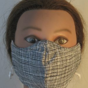Face Mask in Black White Crosshatch - front