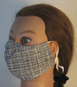 Face Mask in Black White Crosshatch - left