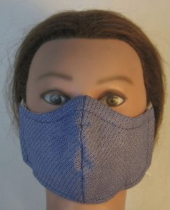 Face Mask in White Square Dot on Navy - front