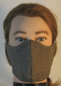 Face Mask in Brown Suiting - front