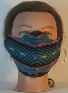 Face Mask in Turquoise Black Pink Southwestern Stripe - front