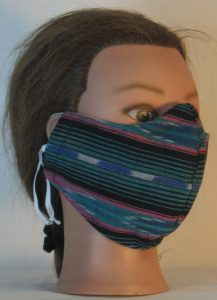 Face Mask in Turquoise Black Pink Southwestern Stripe - right