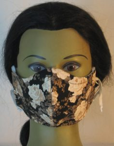 Face Mask in White Rose on Black - front