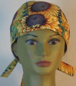 Hair Bag in Yellow Sunflowers with Purple Center - front