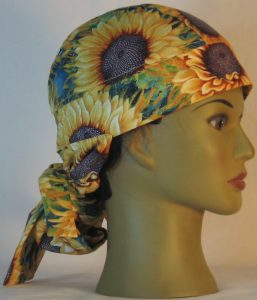 Hair Bag in Yellow Sunflowers with Purple Center - right