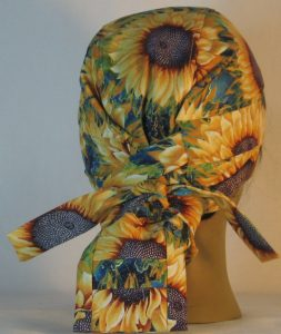Hair Bag in Yellow Sunflowers with Purple Center - back
