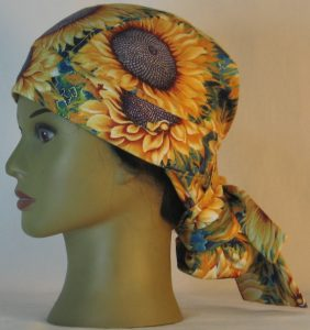 Hair Bag in Yellow Sunflowers with Purple Center - left