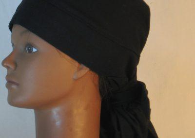 Hair Bag Do Rag in Black - left