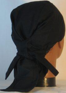 Hair Bag Do Rag in Black - back