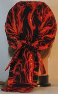 Do Rag-Red Orange Flames on Black-back