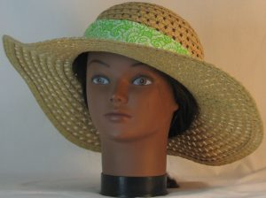 Floppy Hat Band in Lime Green Paisleys Tear Drops on White - front