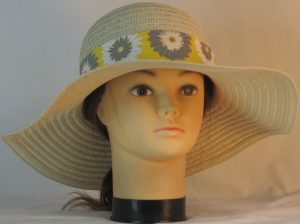 Floppy Hat Band in Gray White Flowers on Yellow with White Ties - front