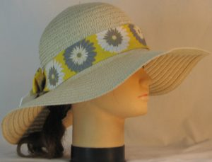 Floppy Hat Band in Gray White Flowers on Yellow with White Ties - right