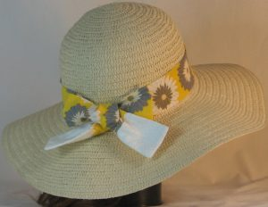 Hat Band in Gray White Flowers on Yellow with White Ties - back