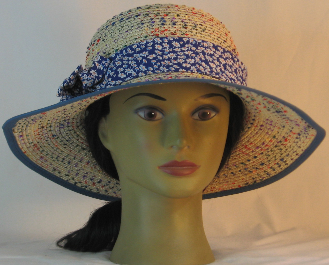 Floppy Hat Band in White Daisies on Blue - front
