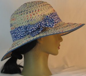 Floppy Hat Band in White Daisies on Blue - right