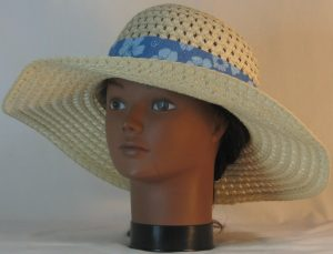 Floppy Hat Band in Blue Flowers on Blue Stripe - front