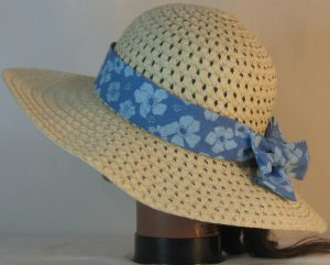 Floppy Hat Band in Blue Flowers on Blue Stripe - back