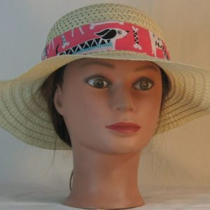 Floppy Hat Band in White Dogs Bones on Pink with White Ties - front