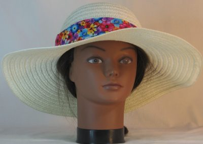 Floppy Hat Band in Flowers in Red Blue Purple Orange Yellow on Black - front