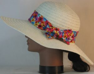 Floppy Hat Band in Flowers in Red Blue Purple Orange Yellow on Black - left