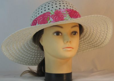 Floppy Hat Band in Pink Green Tropical Leaves on White - front