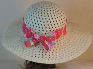 Floppy Hat Band in Pink Green Tropical Leaves on White - back