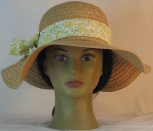 Floppy Hat Band in Yellow Flowers Light Green Leaves on Cream - front