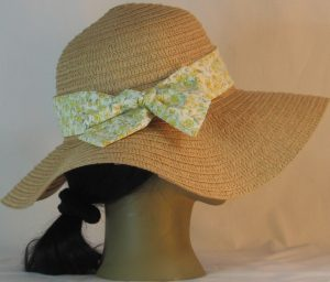 Floppy Hat Band in Yellow Flowers Light Green Leaves on Cream - back right